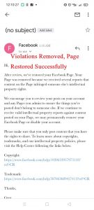 Facebook Violations Removed Successfully